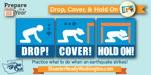 picture shows people on the ground doing drop cover and hold on for earthquake safety