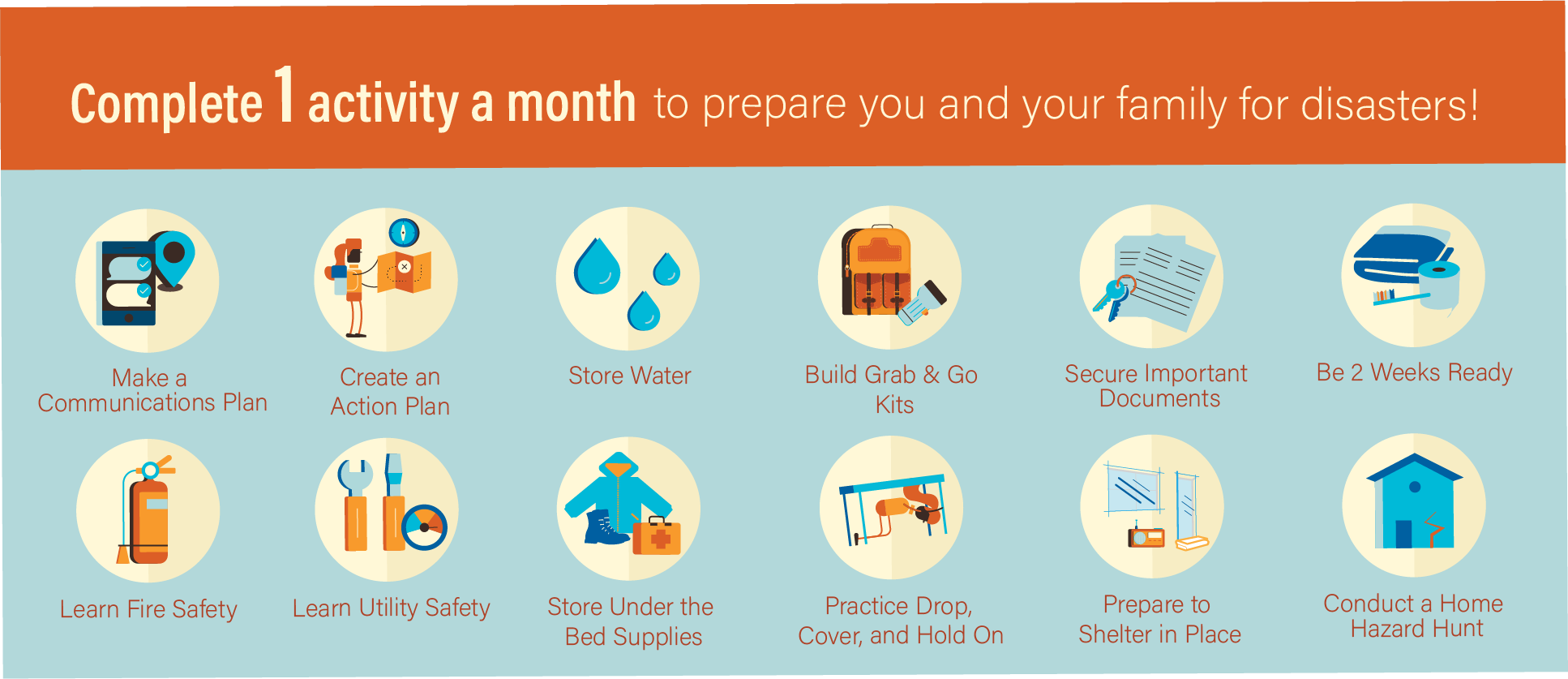 Icons show 12 different actions to take, one a month for the next year.