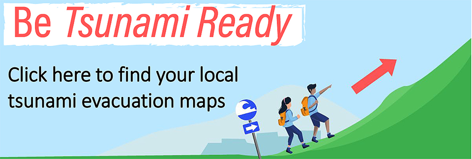 Be tsunami ready, the sign says. People walk up a hill to avoid a tsunami. Click here to find your local tsunami evacuation maps.